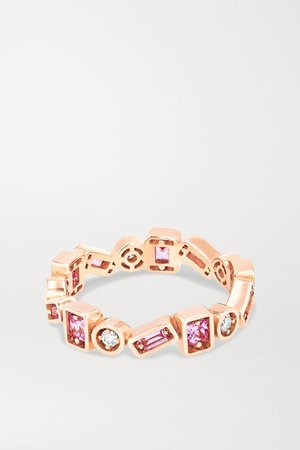 Gold 18-karat rose gold, sapphire and diamond ring | Suzanne Kalan | NET-A-PORTER
