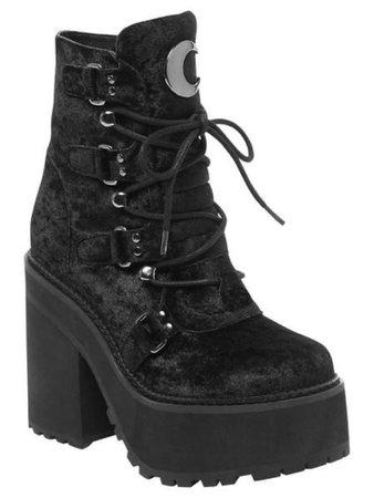 Black velvet sailor moon combat heels