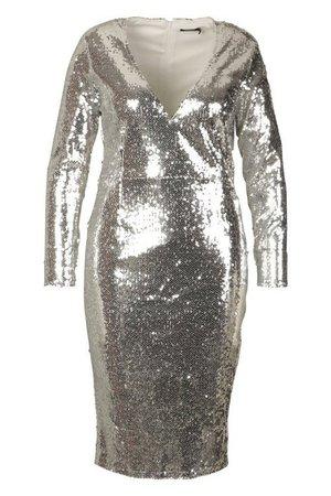 Plus Sequin Plunge Neck Midi Dress | Boohoo