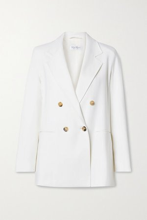 Cile Double-breasted Wool-blend Crepe Blazer - Ivory