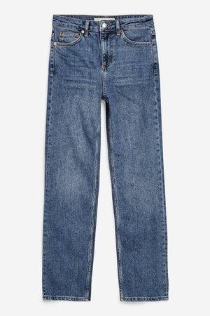 Mid Blue Straight Leg Jeans | Topshop