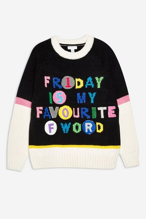 'Friday Is My Fave' Jumper   Topshop black