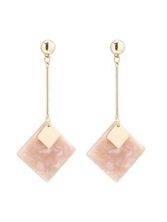 Square Gemstone Design Drop Earrings