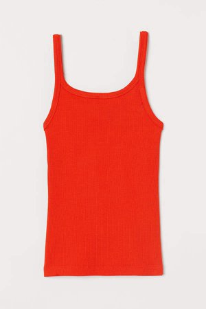 Ribbed Jersey Tank Top - Orange
