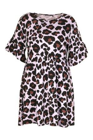 Plus Leopard Ruffle Smock Dress | boohoo