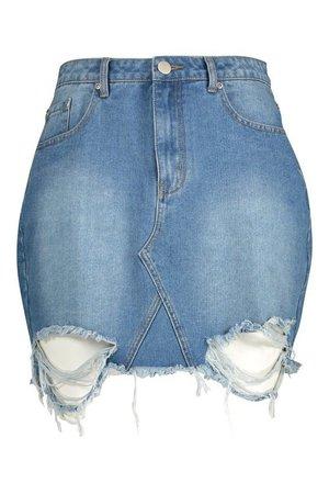 Plus Distressed Hem Denim Skirt | boohoo