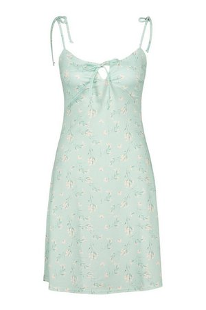 Ditsy Floral Strappy Swing Dress | boohoo green