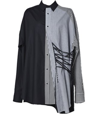 JYKIM Double Stripe String Shirt Black