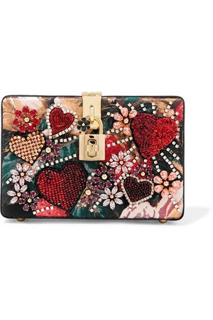 Dolce & Gabbana | Dolce Box embellished floral-print jacquard and watersnake shoulder bag | NET-A-PORTER.COM
