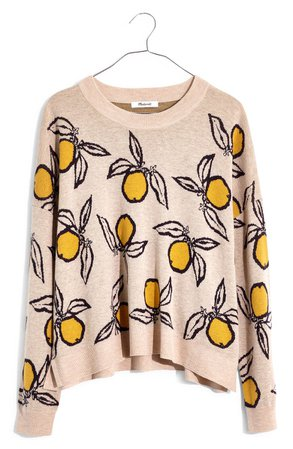 Madewell Tangerine Sketch Jacquard Pullover Sweater | Nordstrom