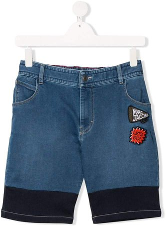TEEN embroidered patch denim shorts