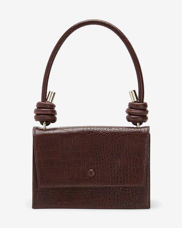 Crocodile Textured Structured Crossbody Bag