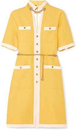 Grosgrain-trimmed Wool And Silk-blend Dress - Yellow