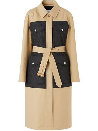 Burberry panelled quilted trench coat - FARFETCH
