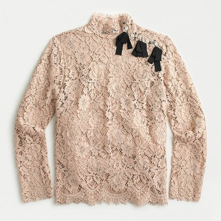 J.Crew: Mockneck Top In Floral Lace Blouse