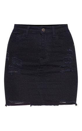 *clipped by @luci-her* Black Distressed Denim Stretch Skirt | Denim | PrettyLittleThing USA