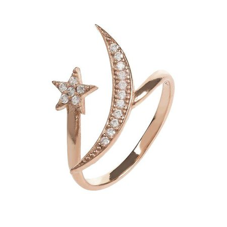 Fashiontage - Rosegold White Moon and Star Ring - 899064823869