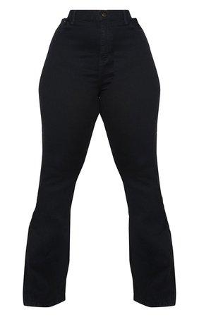 Plus Black Flare Denim Jeans | Plus Size | PrettyLittleThing USA