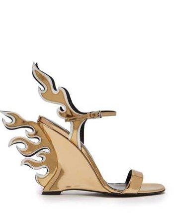 Prada Flame Patent Leather Sandals