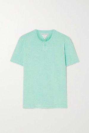 Cotton-blend Terry T-shirt - Blue