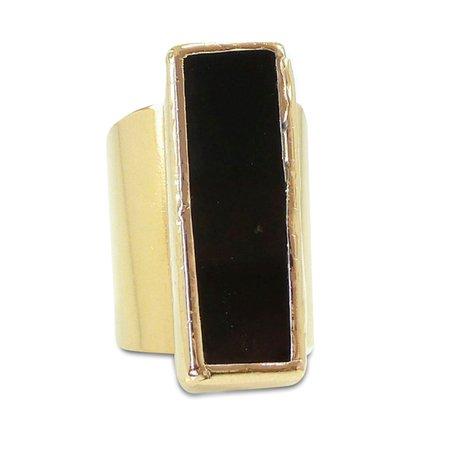 Gold Onyx Statement Ring (Women's)