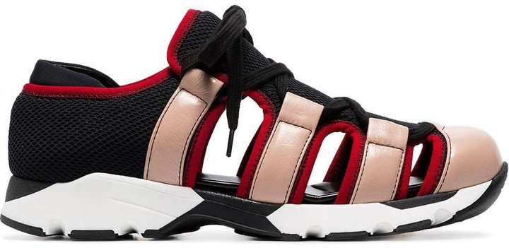 Multicoloured Leather And Mesh Cutout Sneakers