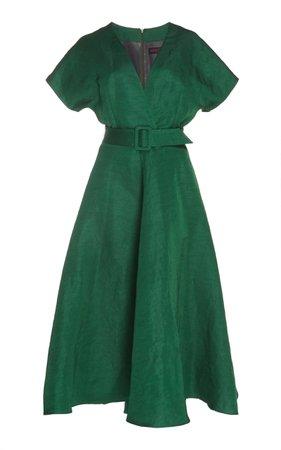 Martin Grant Belted Linen-Blend Midi Dress
