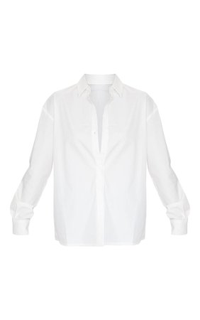 White Horn Button Cotton Oversized Shirt   PrettyLittleThing USA