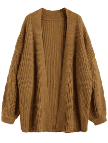Cable Knit Chunky Open Cardigan