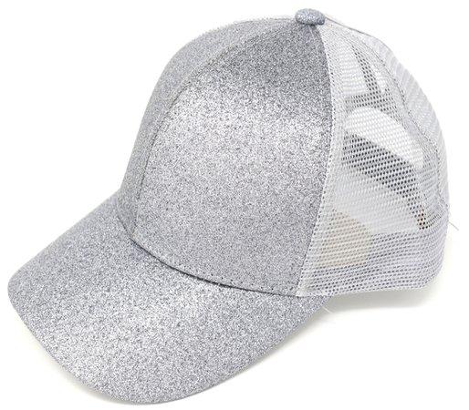 silver glittery baseball cap