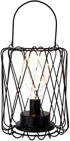 Lewondr Table Lamp Metal Shade Edison Bulb Desk Light Lantern Metal Cage Style Battery Powered Ambient Lights for Bedroom Wedding Christmas Home Decoration - Warm White and Black: Amazon.ca: Home & Kitchen
