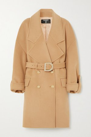 Button-embellished Double-breasted Wool And Cashmere-blend Coat - Neutral