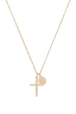 Cross & Saint Charm Necklace