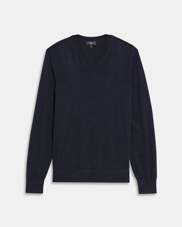V-Neck Sweater in Regal Wool - Theory