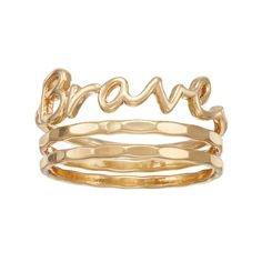 LC Lauren Conrad Brave Script Ring Set