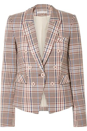 Veronica Beard | Diego Dickey double-breasted houndstooth cotton-blend blazer | NET-A-PORTER.COM