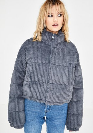 BDG Fluffy Corduroy Puffer Jacket | Dolls Kill