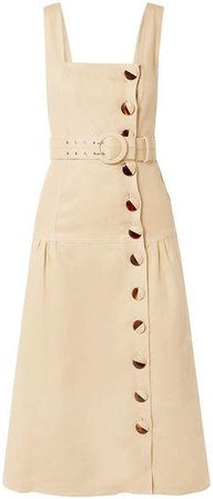 Belted Linen Midi Dress - Beige