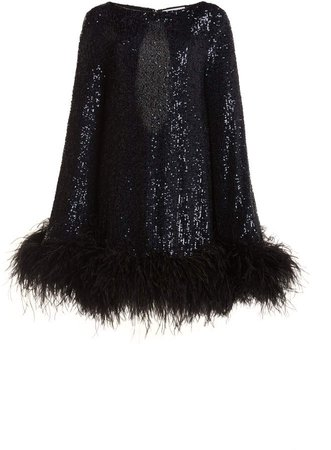 Nervi Ines Feather-Trimmed Sequined Mini Dress