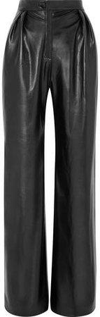 MATÉRIEL - Pleated Faux Leather Wide-leg Pants - Black