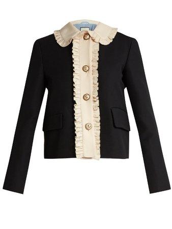 Gucci   ruffled wool and silk-blend crepe jacket