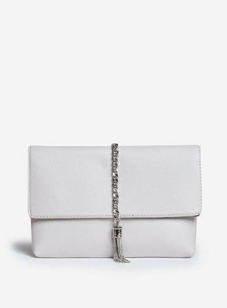 Grey Metal Tassel Clutch Bag   Dorothy Perkins