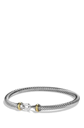 David Yurman Cable Buckle Bracelet with Gold, 4mm | Nordstrom