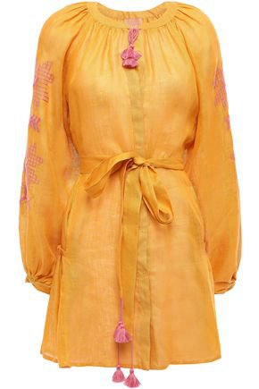 Val tie-front embroidered linen-gauze mini dress | MARCH11 | Sale up to 70% off | THE OUTNET