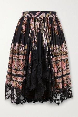 Black Lace-trimmed floral-print silk-crepon mini skirt   Etro   NET-A-PORTER