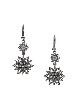 Marchesa crystal flower drop earrings black 4508A - Farfetch