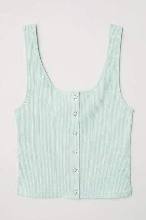 Tank Top with Snap Fasteners - Green