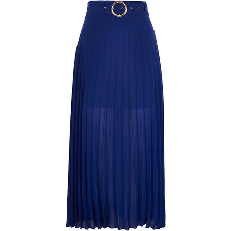 Blue belted pleated midi skirt | River Island