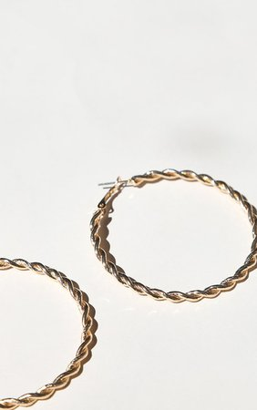 Gold Rope Twisted Hoop Earrings   Accessories   PrettyLittleThing
