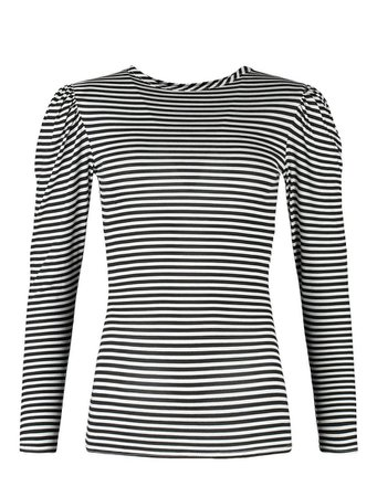 Stripe Puff Sleeve Long Top